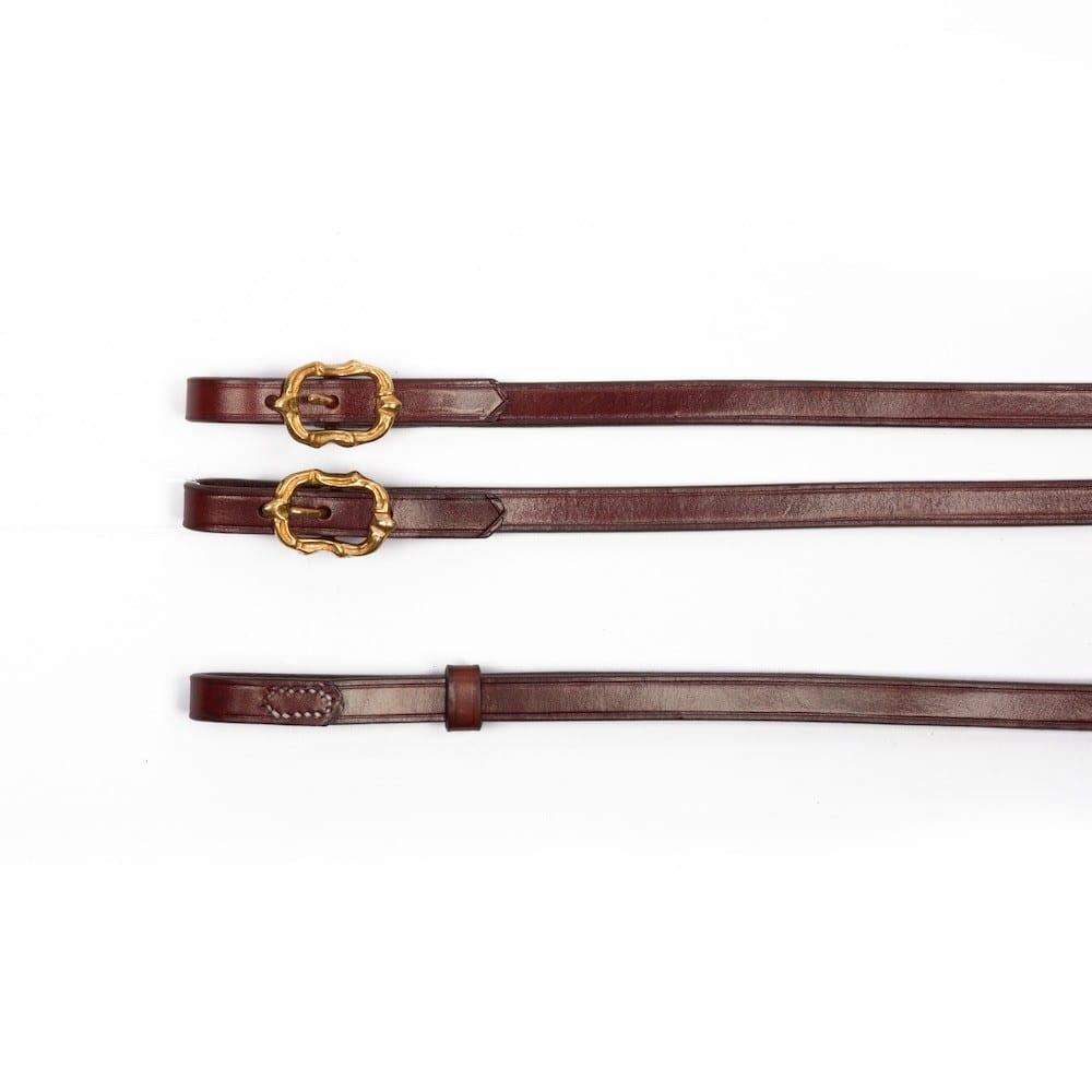 Barock Kandarenzügel aus braunem Leder mit goldenen Cortesia Schnallen von Picadera