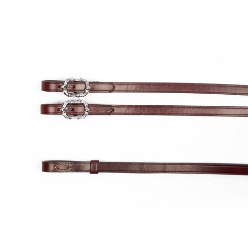 Barock Kandarenzügel aus braunem Leder mit silbernen Cortesia Schnallen von Picadera