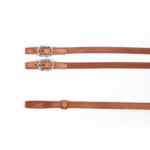 Barock Kandarenzügel aus naturbraunem Leder mit silbernen Cortesia Schnallen von Picadera