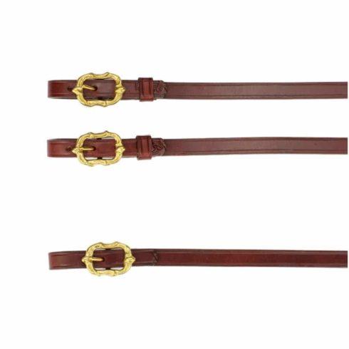 Barock Zügel aus braunem Leder mit goldenen Cortesia Schnallen von Picadera