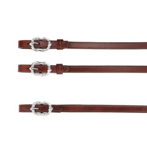 Barock Zügel aus braunem Leder mit silbernen Cortesia Schnallen von Picadera