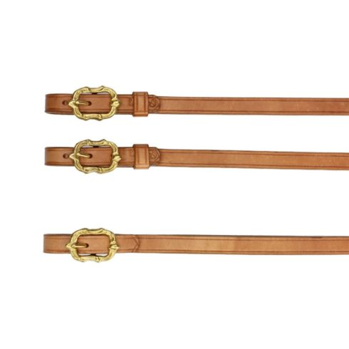 Barock Zügel aus naturbraunem Leder mit goldenen Cortesia Schnallen von Picadera