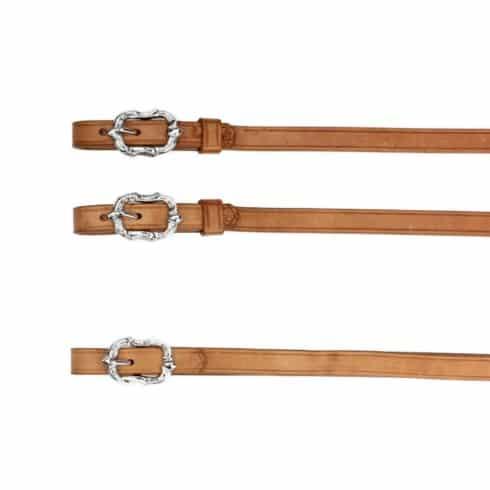 Barock Zügel aus naturbraunem Leder mit silbernen Cortesia Schnallen von Picadera