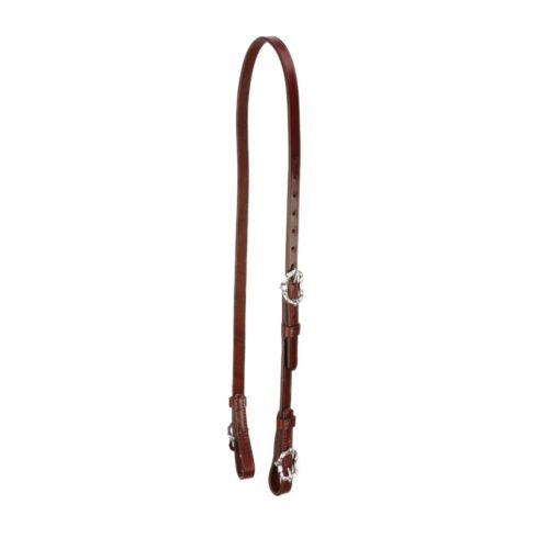Semitrense und Unterlegriemen für Kandaren aus braunem Leder mit silberfarbenen Cortesiaschnallen von Picadera