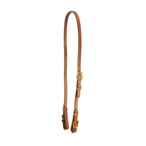 Semitrense und Unterlegriemen für Kandaren aus naturbraunem Leder mit goldfarbenen Cortesiaschnallen von Picadera