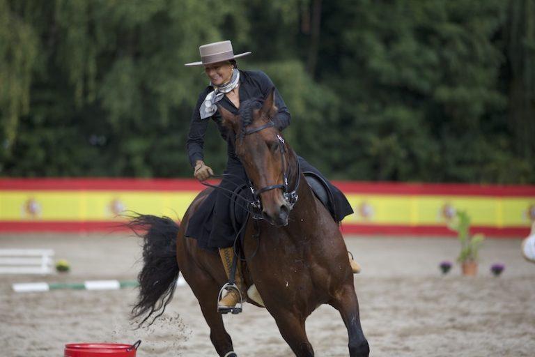 Reiterin auf spanischem Pferd bei Working Equitation Tonnen bei Picadera