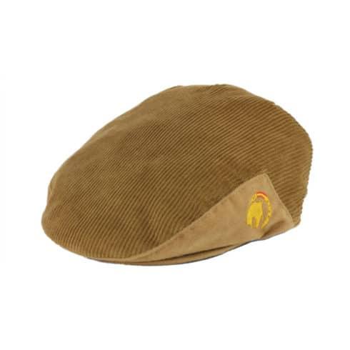 Flatcap aus beigem Cord mit Pferde Stickerei Seitenansicht bei Picadera