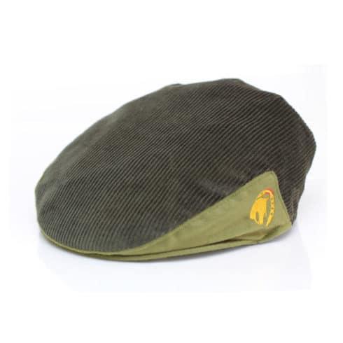Flatcap aus grünem Cord mit Pferde Stickerei bei Picadera