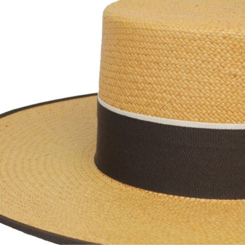 Chic straw hat Cordobes for Riding with matching hat band at Picadera