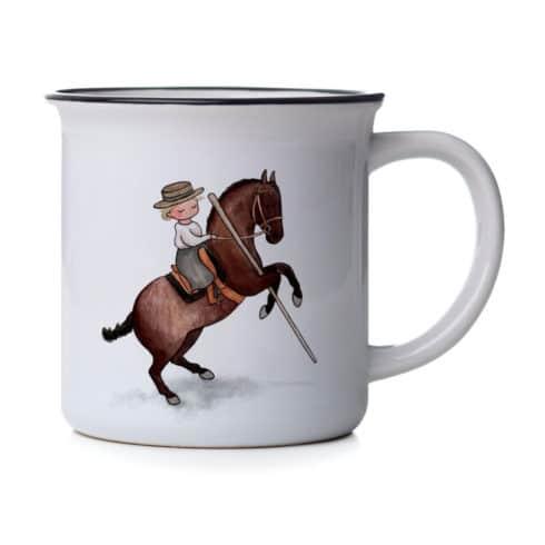Tasse mit Reiterin und Garrocha bei Picadera