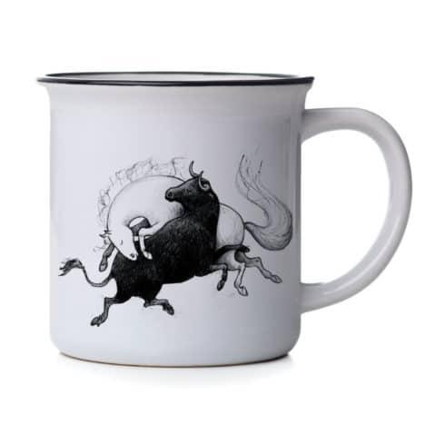 Tasse mit Andalusier und Stier bei Picadera