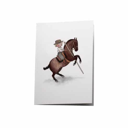 Klappkarte mit Reiterin mit Garrocha von Picadera