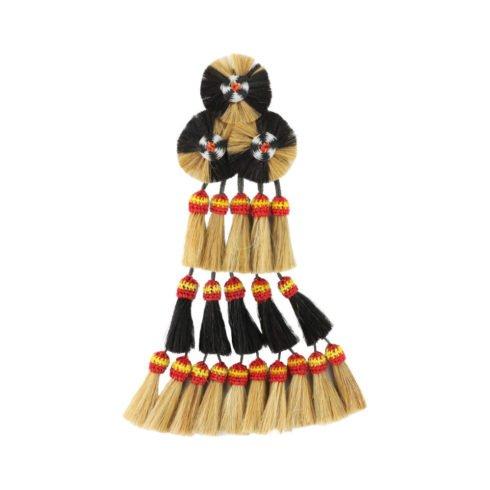Spanischer Mosquero mit 20 Borlas in Creme-Schwarz und spanischen Farben von Picadera