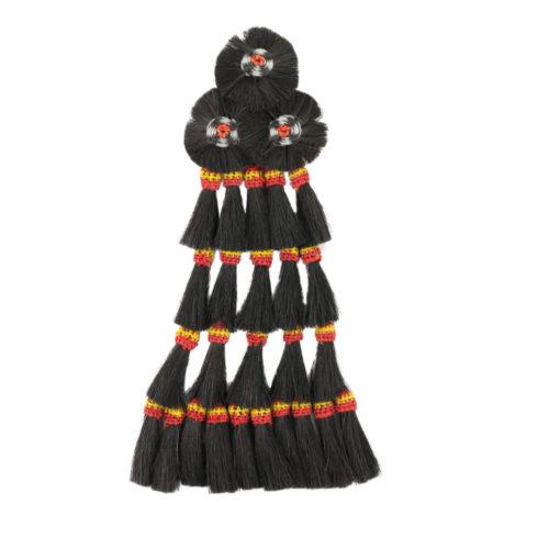 Mosquero mit 25 Borlas in Schwarz mit spanischen Farben von Picadera